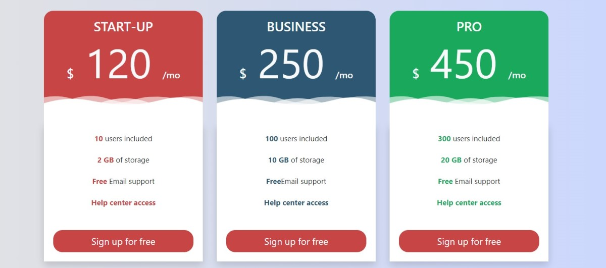 4 Awsome Free HTML Pricing Table Template