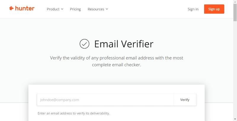 Hunter.io Email Verifier