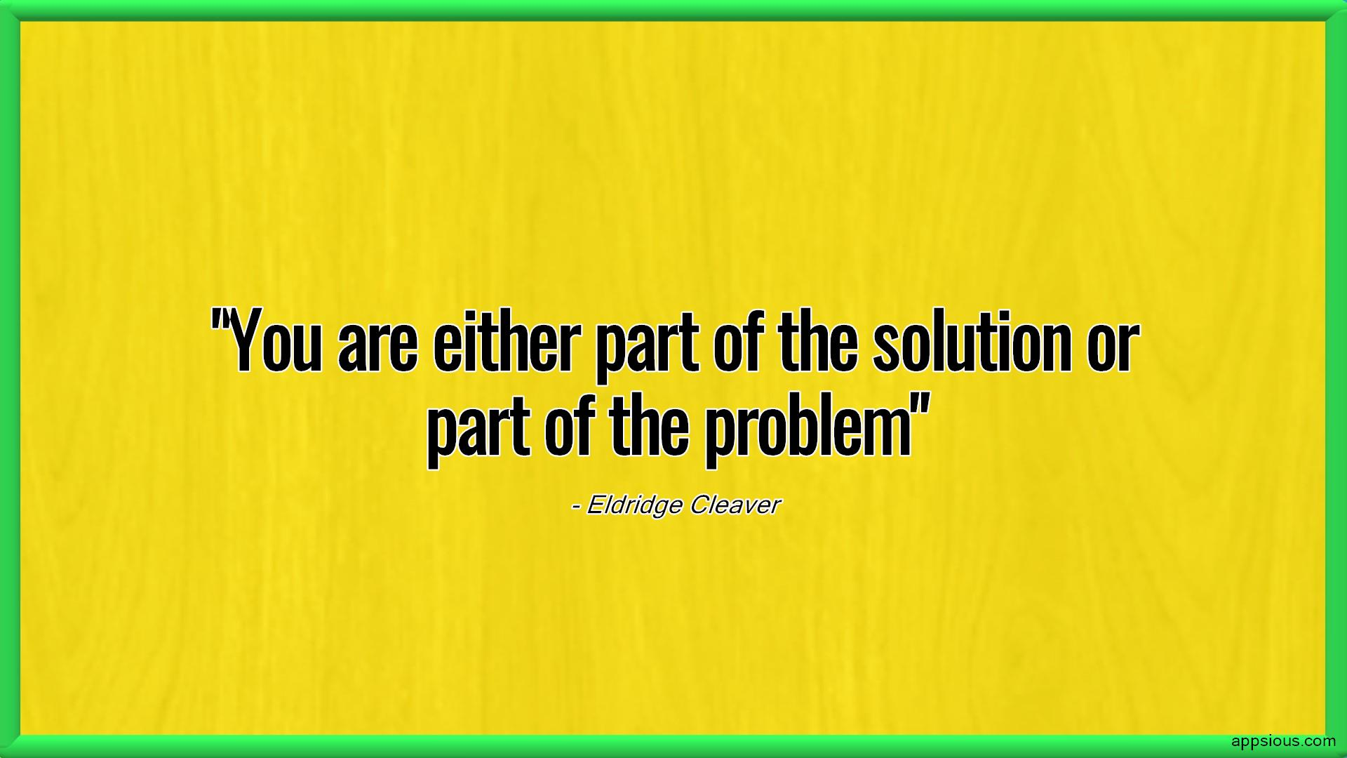You are either part of the solution or part of the problem