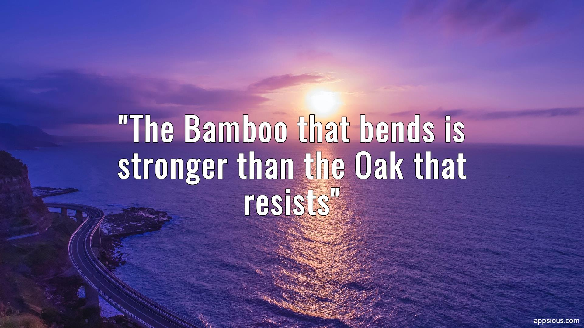 The Bamboo that bends is stronger than the Oak that resists
