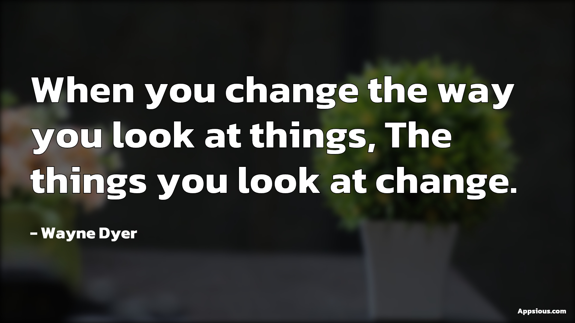 When you change the way you look at things, The things you look at change.