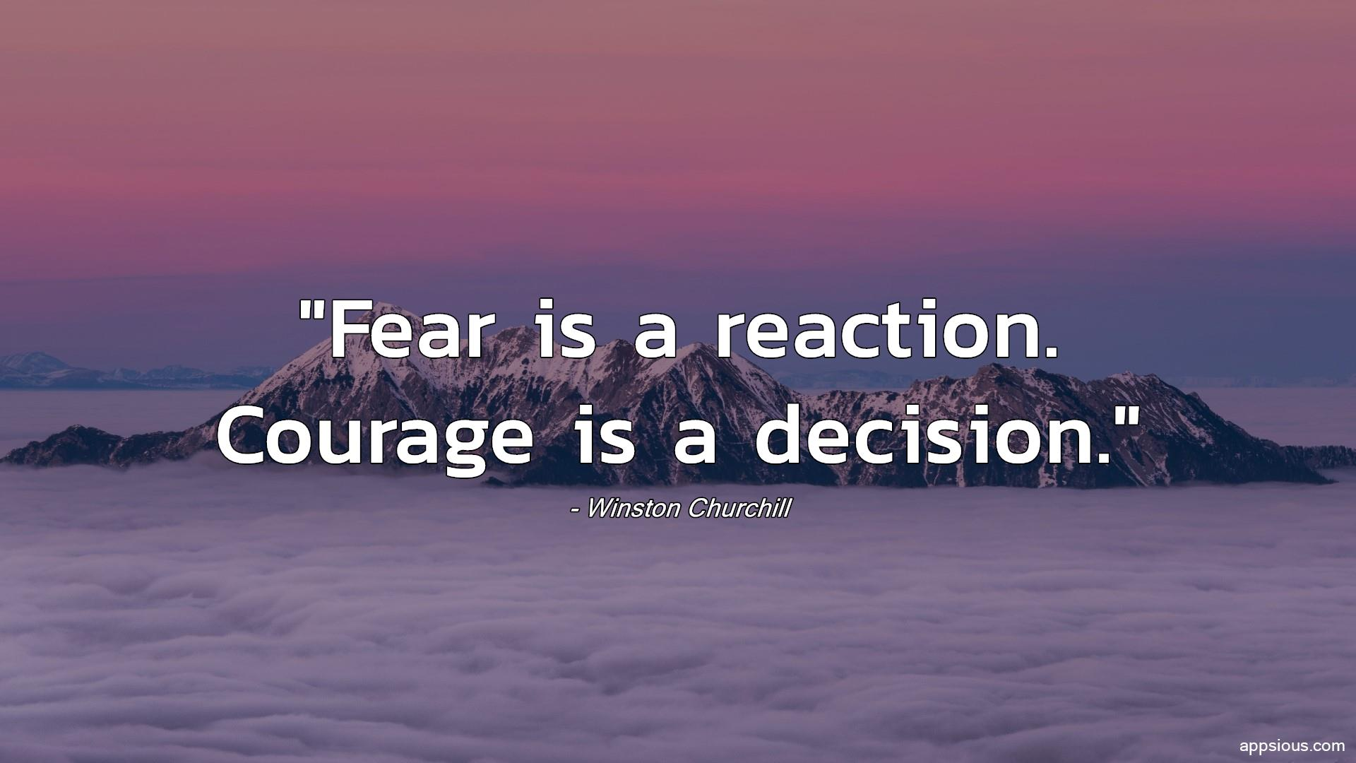 Fear is a reaction. Courage is a decision.