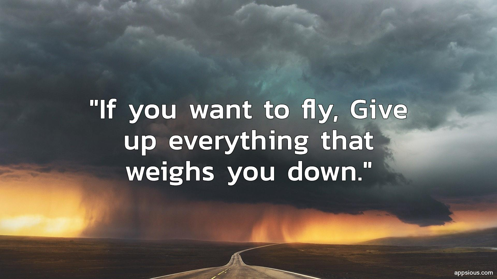 If you want to fly, Give up everything that weighs you down.