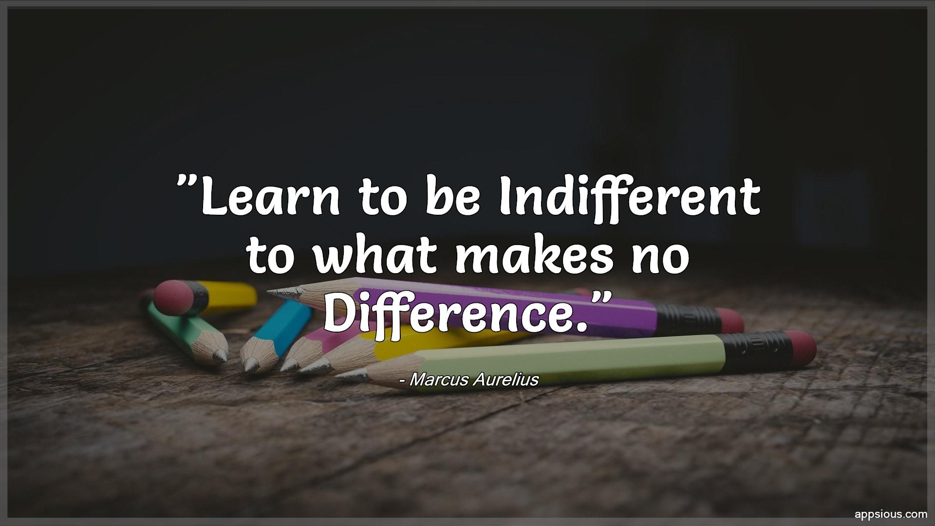 Learn to be Indifferent to what makes no Difference.