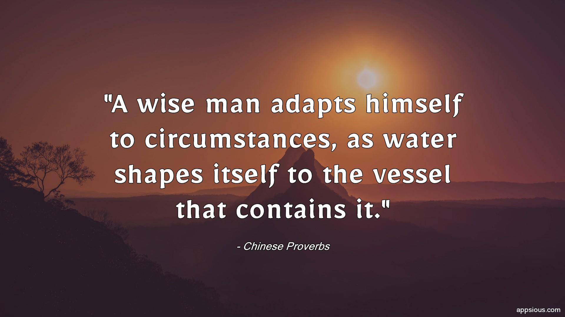 A wise man adapts himself to circumstances, as water shapes itself to the vessel that contains it.