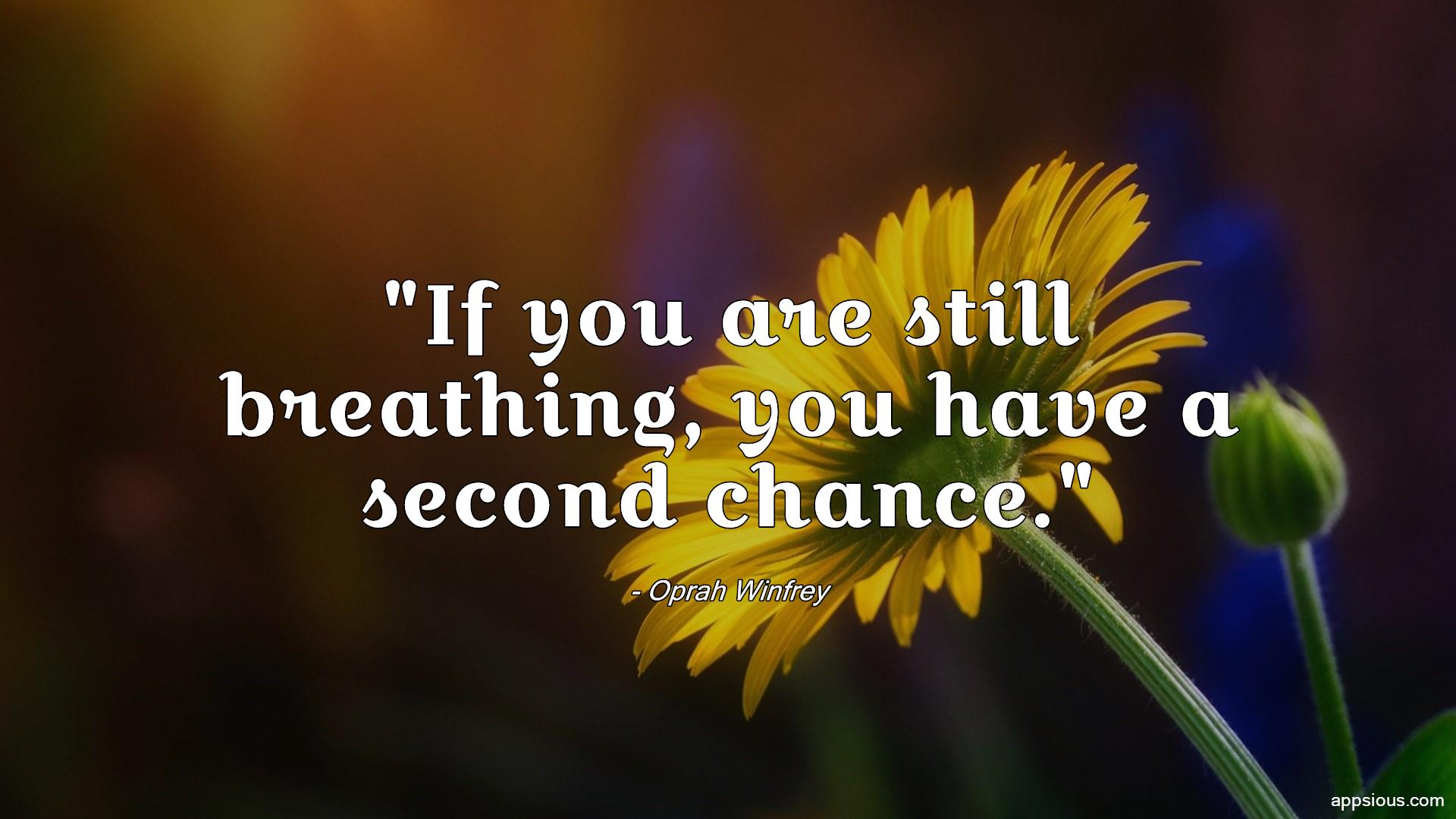 If you are still breathing, you have a second chance.