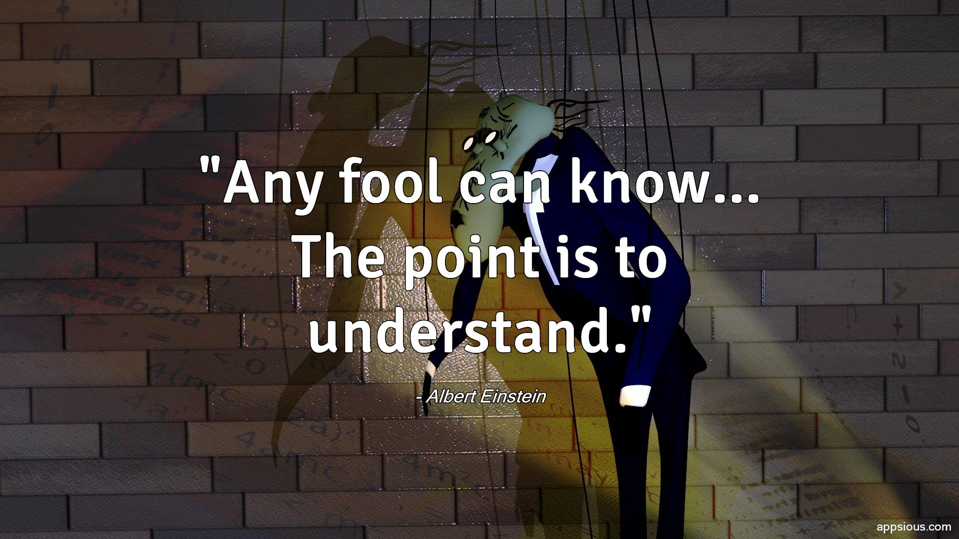 Any fool can know... The point is to understand.