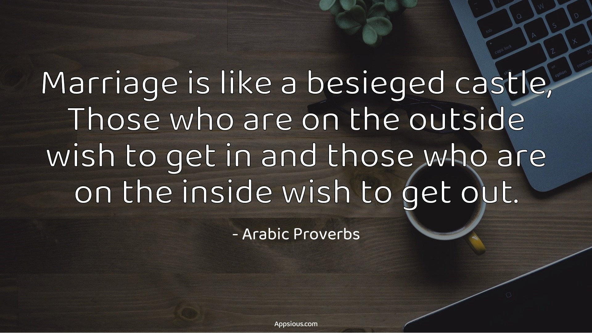 Marriage is like a besieged castle, Those who are on the outside wish to get in and those who are on the inside wish to get out.