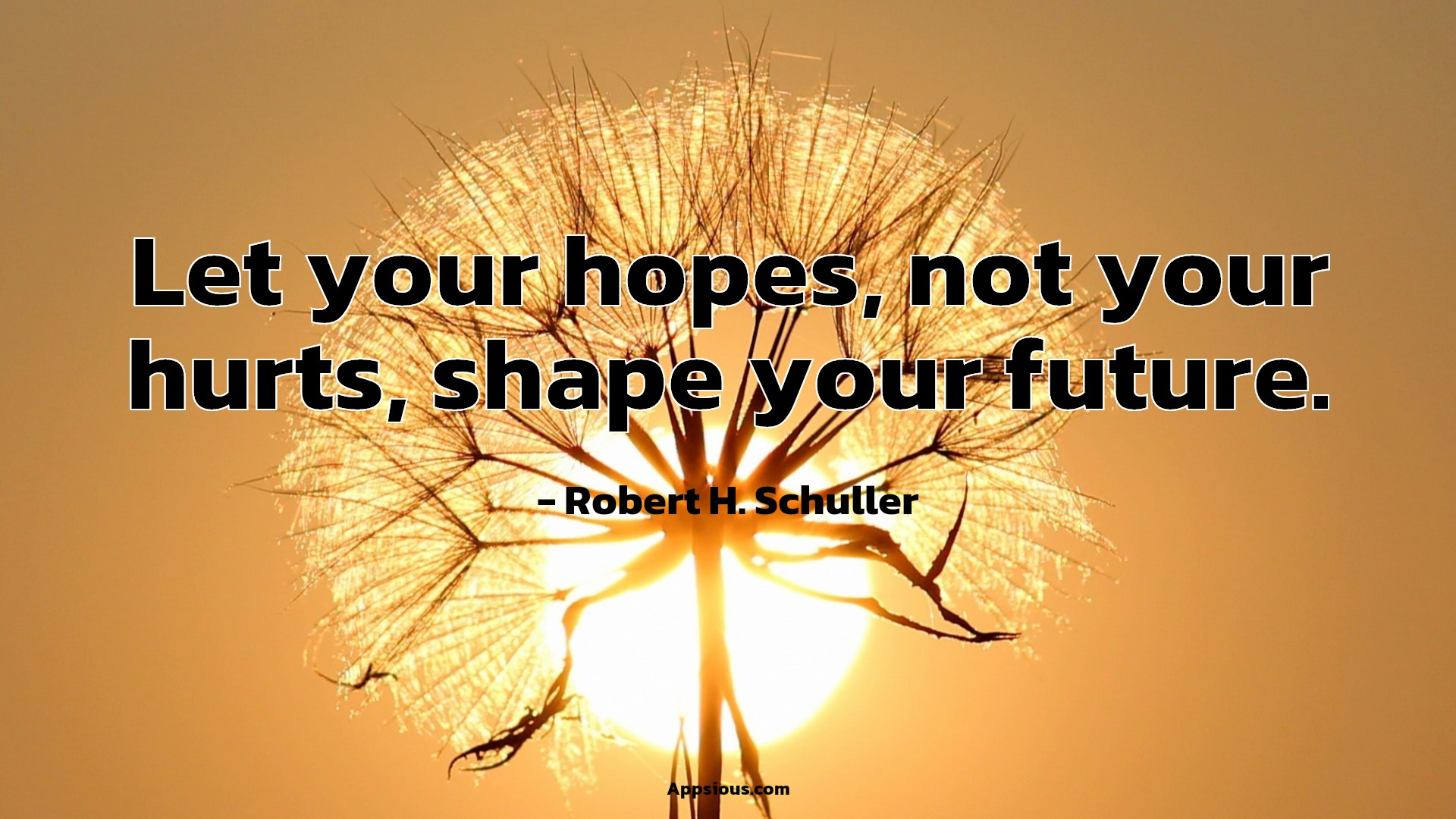 Let your hopes, not your hurts, shape your future.