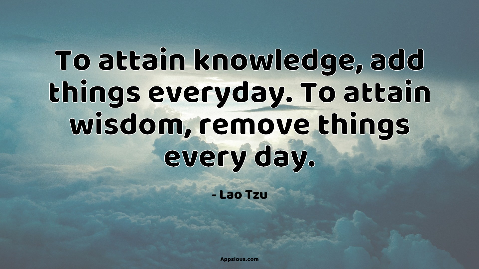 To attain knowledge, add things everyday. To attain wisdom, remove things every day.