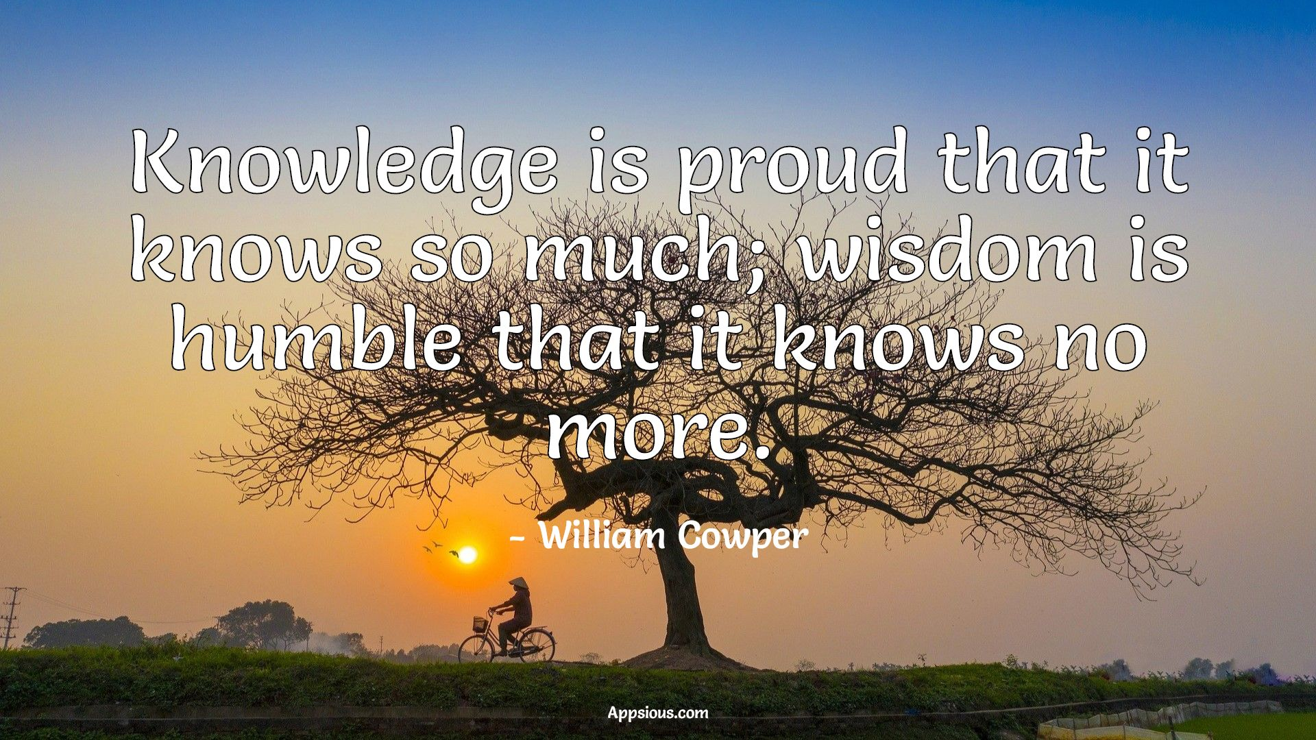 Knowledge is proud that it knows so much; wisdom is humble that it knows no more.