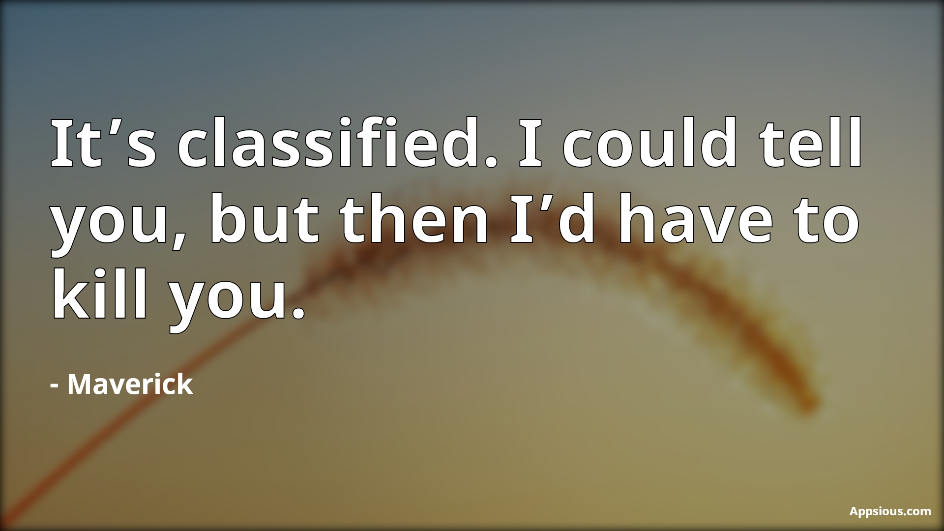 It's classified. I could tell you, but then I'd have to kill you.