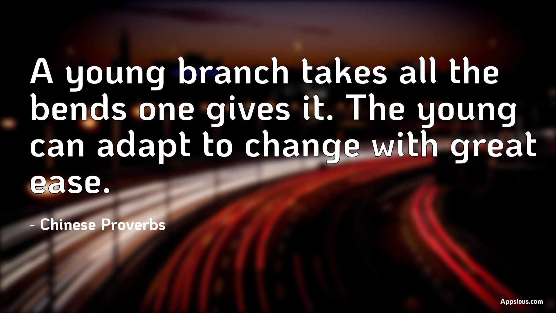 A young branch takes all the bends one gives it. The young can adapt to change with great ease.