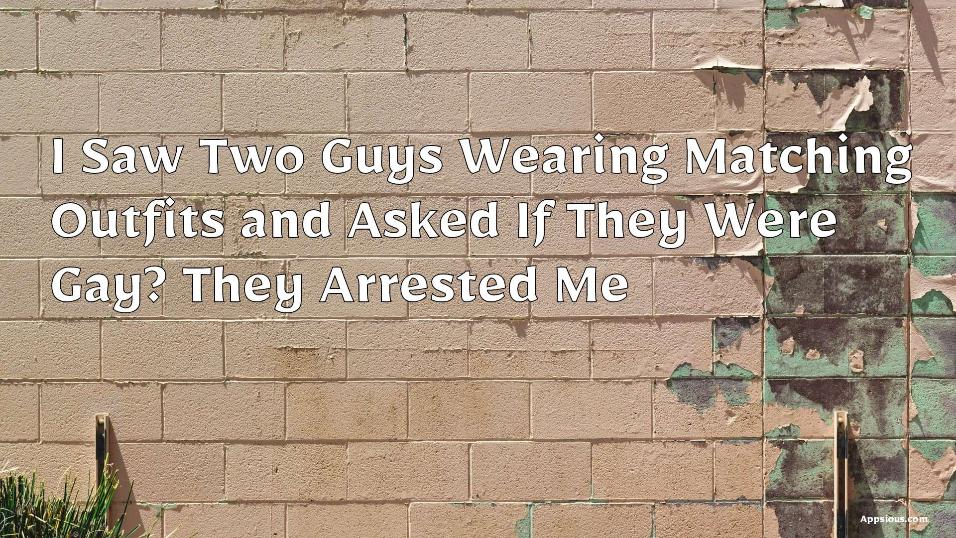 I Saw Two Guys Wearing Matching Outfits and Asked If They Were Gay? They Arrested Me