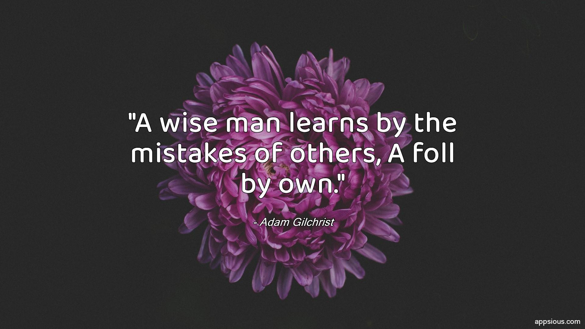 A wise man learns by the mistakes of others, A foll by own.