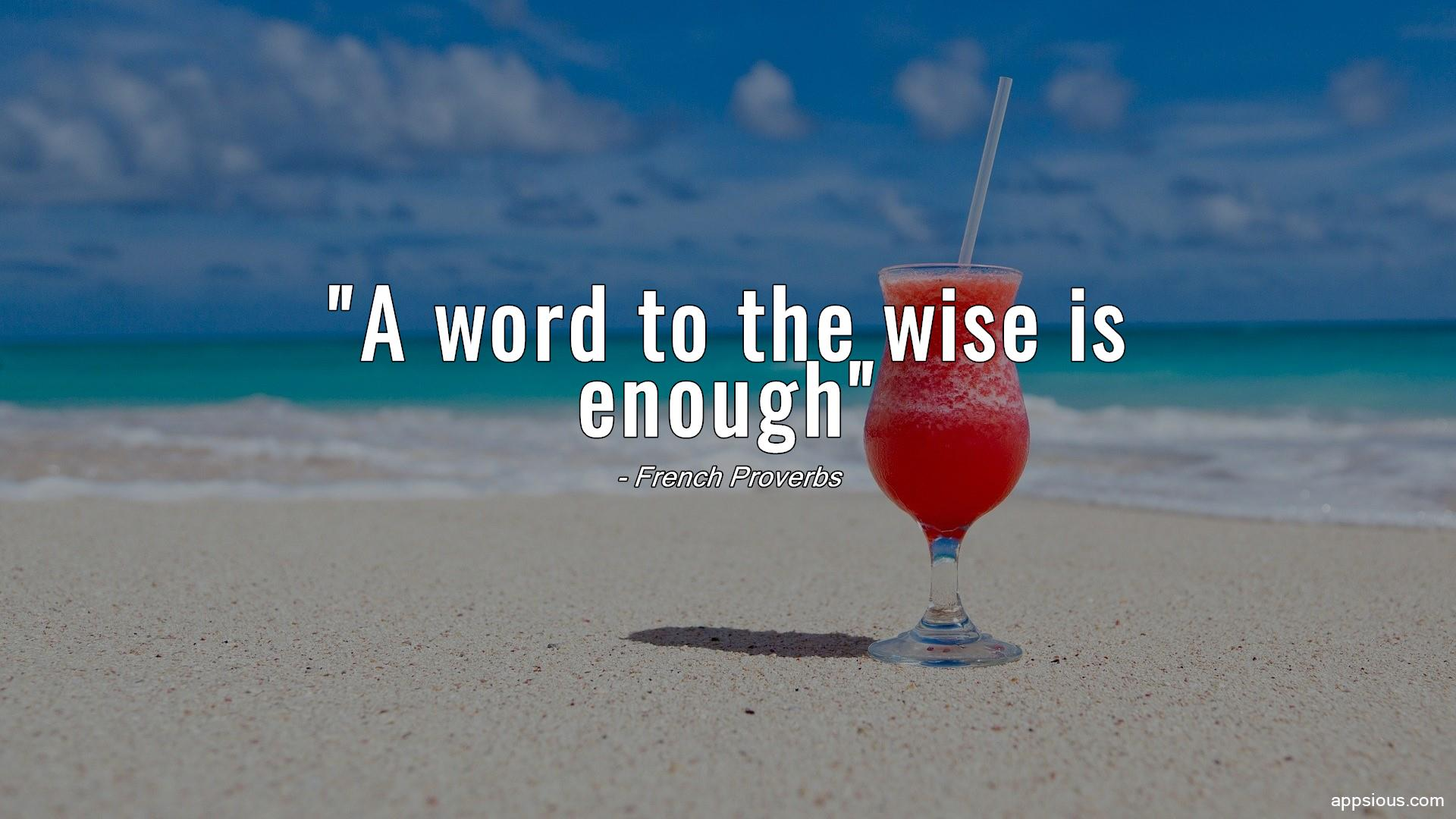A word to the wise is enough