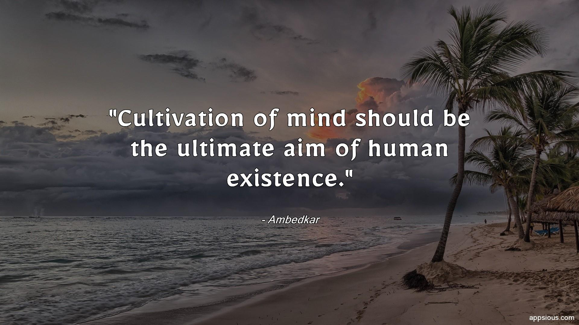Cultivation of mind should be the ultimate aim of human existence.