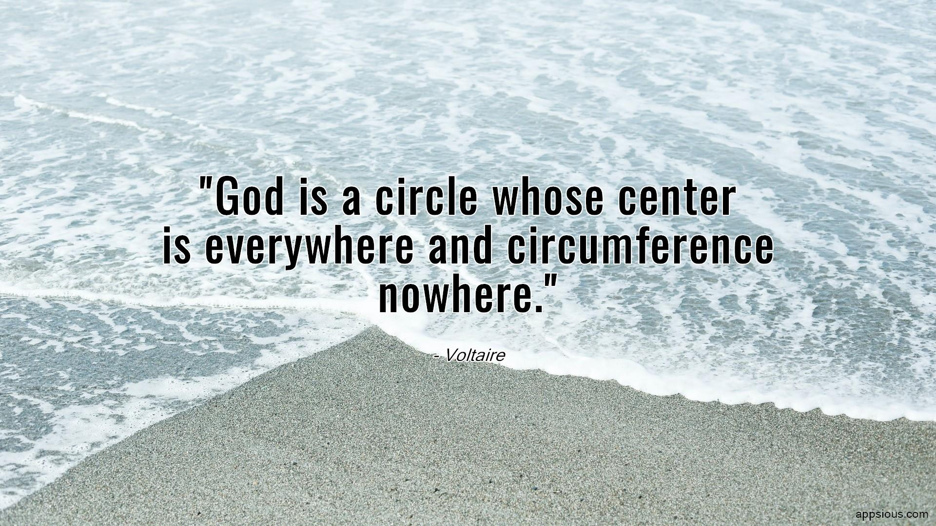 God is a circle whose center is everywhere and circumference nowhere.