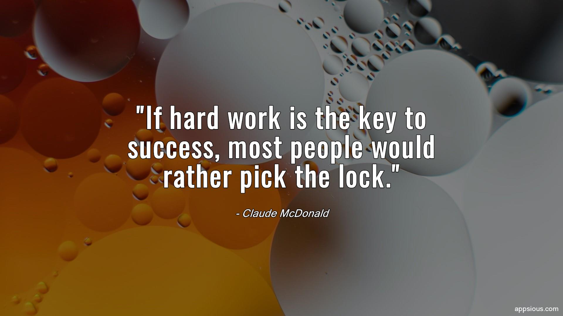 If hard work is the key to success, most people would rather pick the lock.