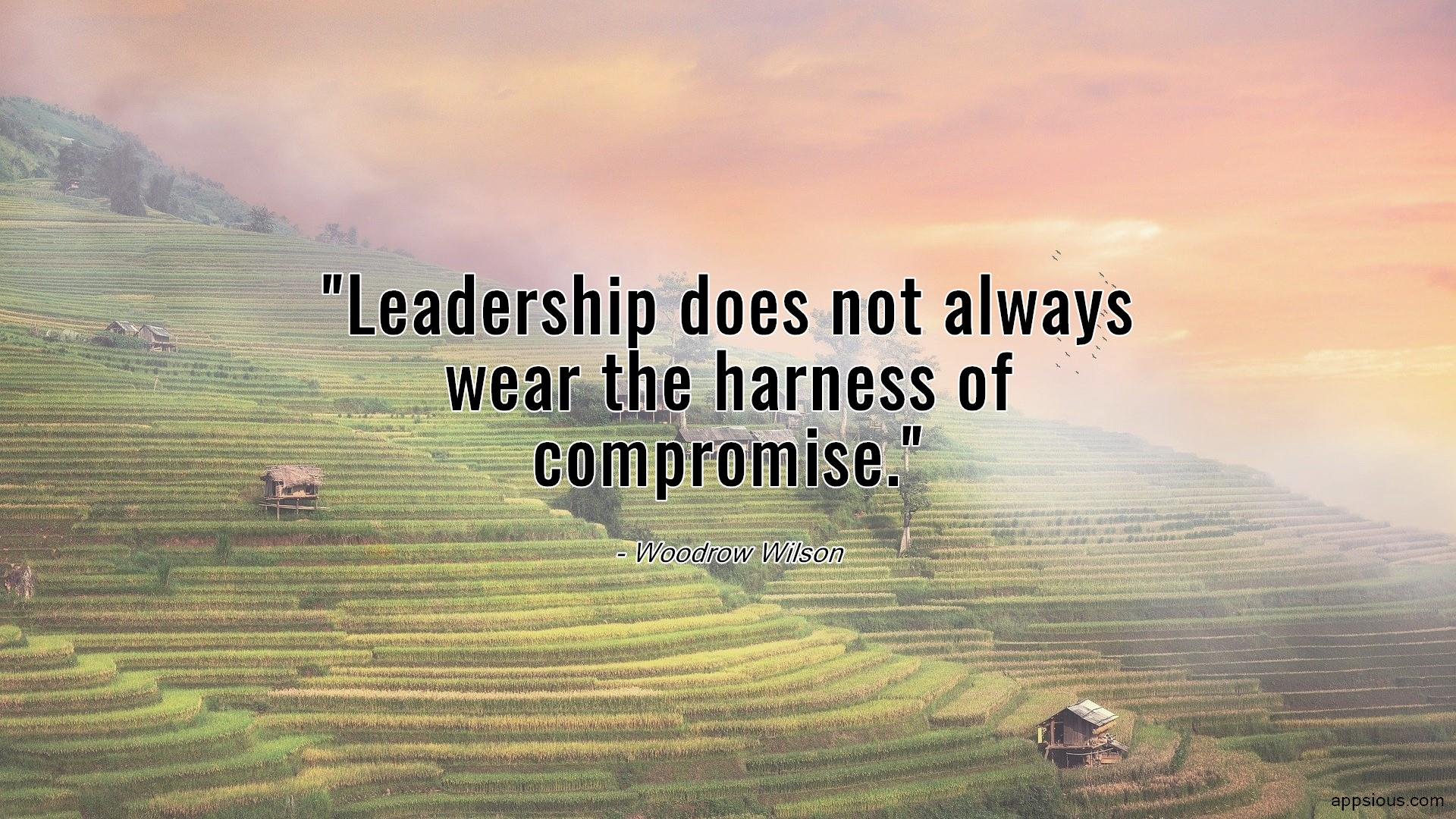 Leadership does not always wear the harness of compromise.