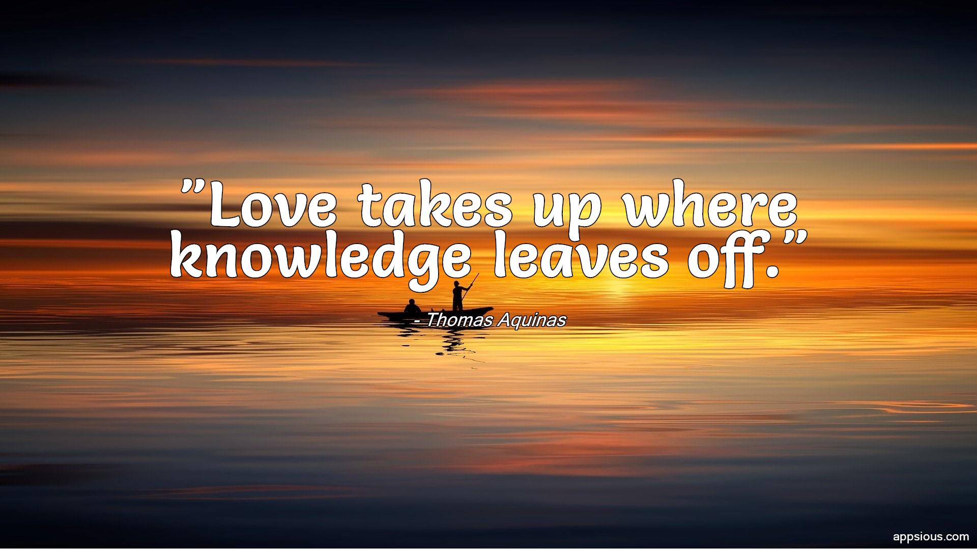 Love takes up where knowledge leaves off.