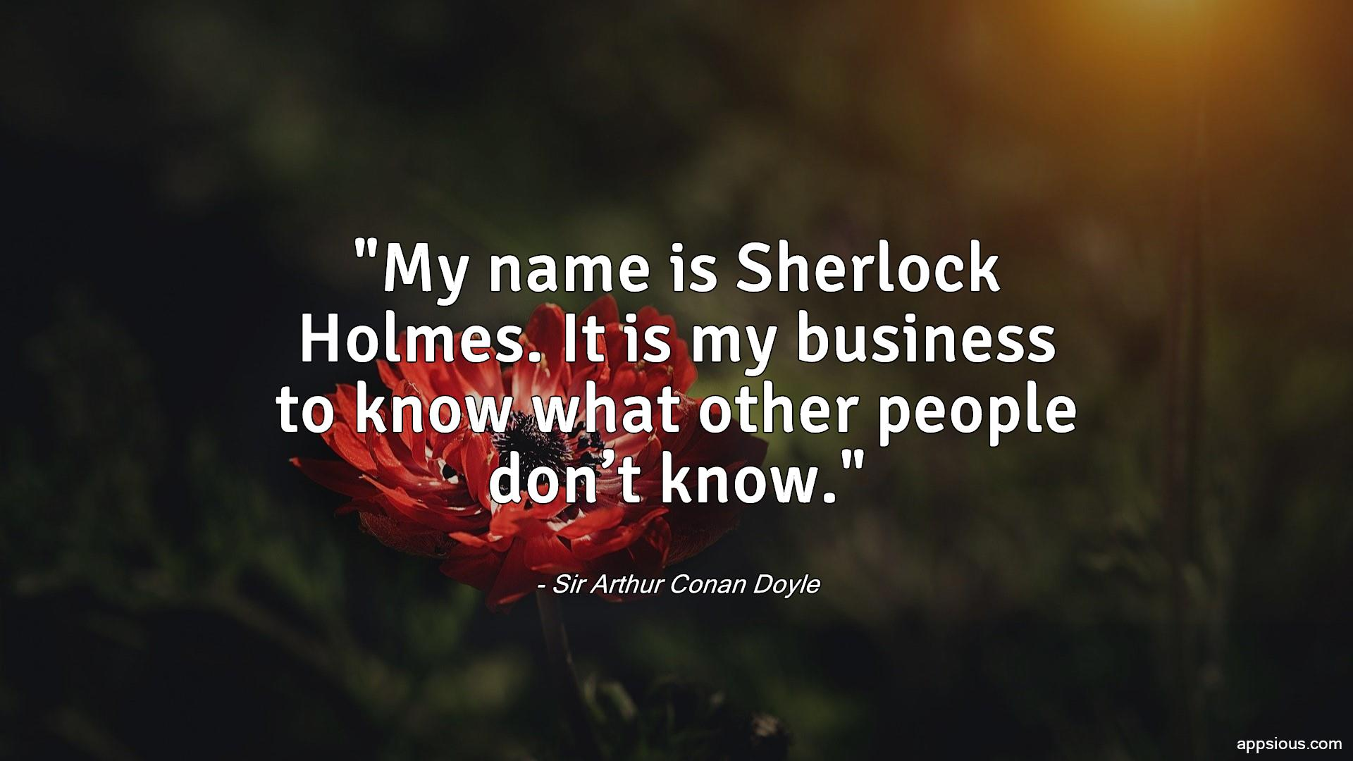 My name is Sherlock Holmes. It is my business to know what other people don't know.