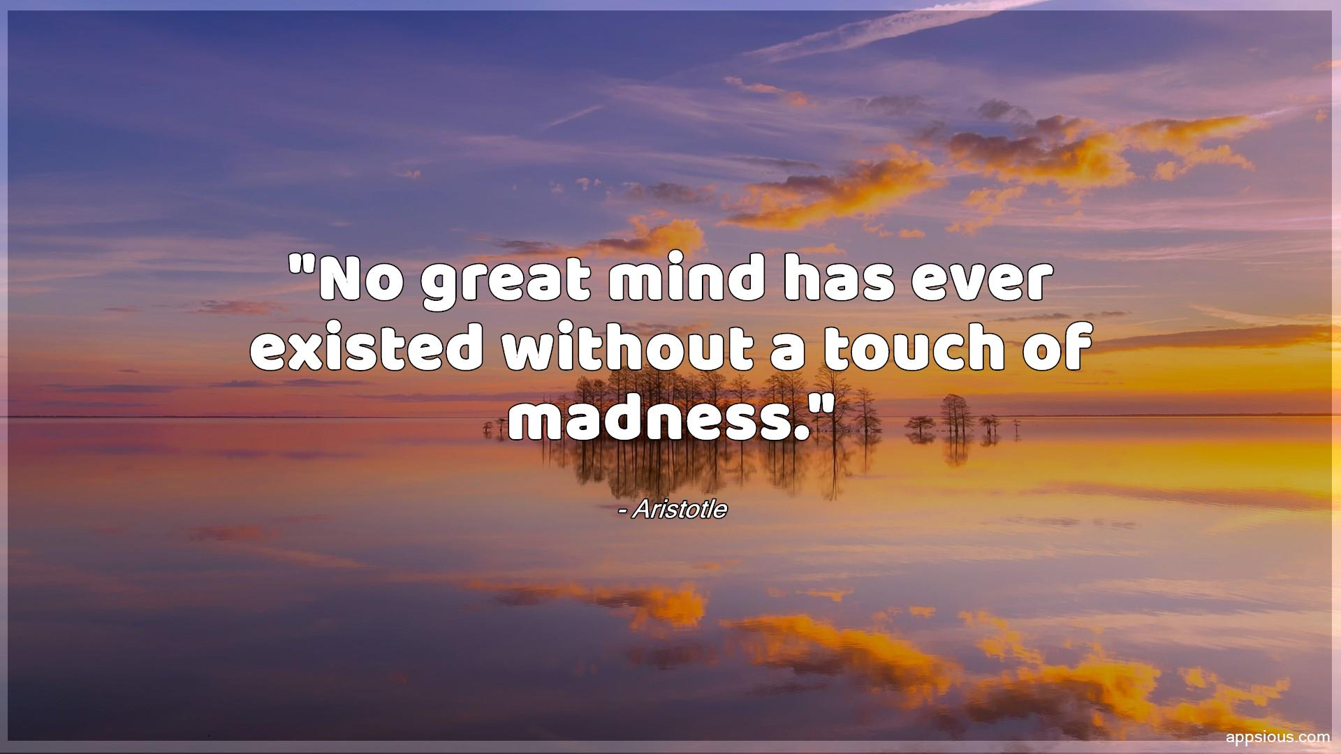 No great mind has ever existed without a touch of madness.