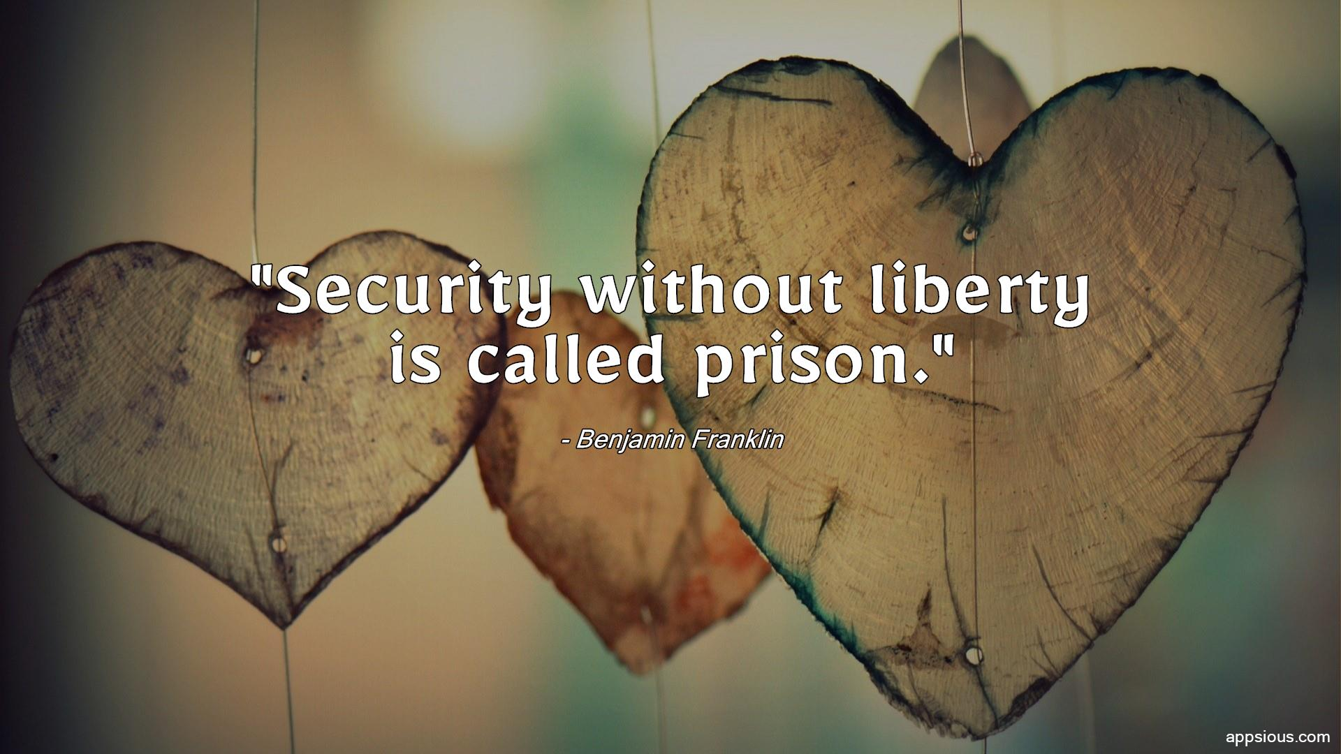 Security without liberty is called prison.
