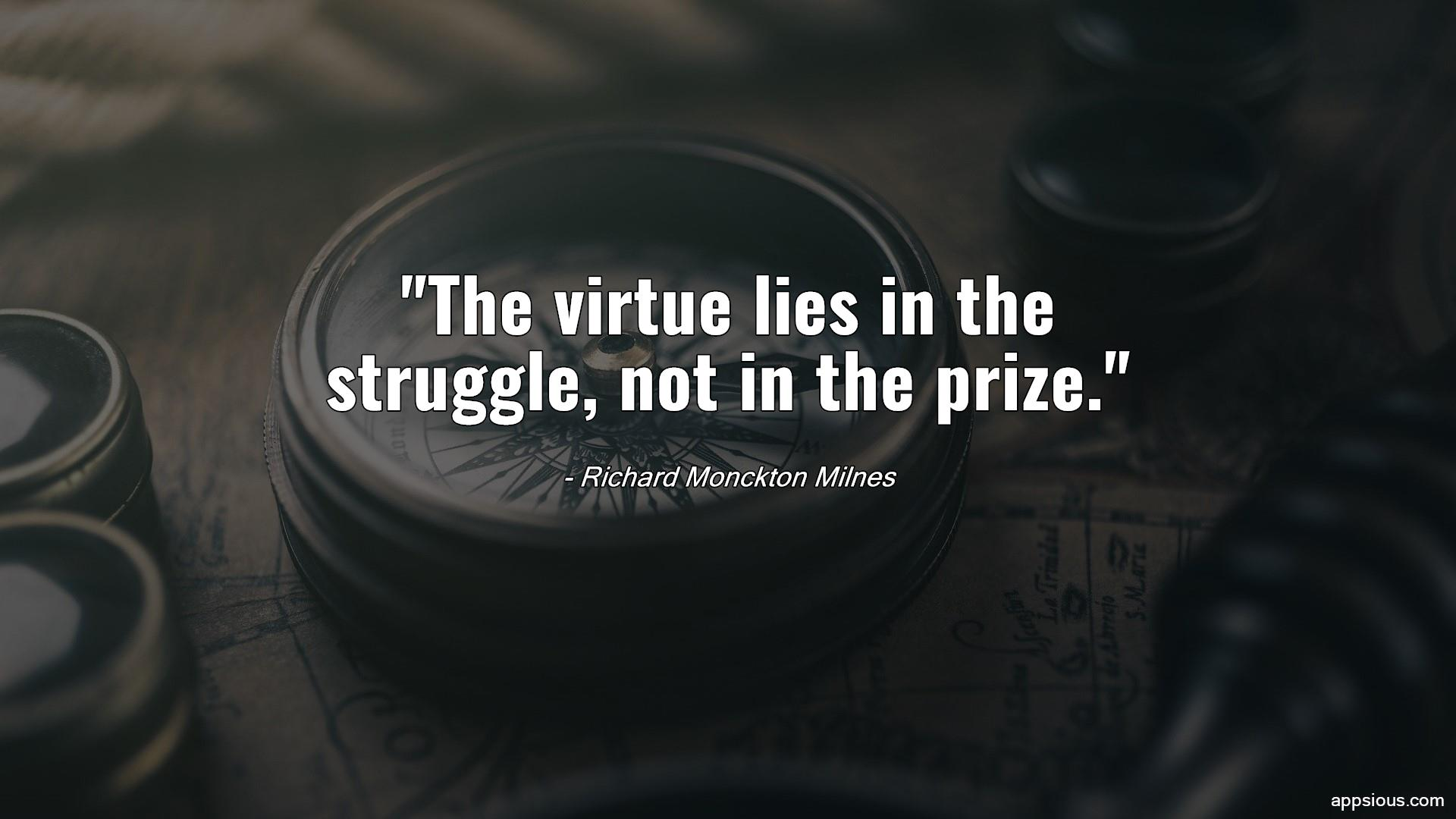 The virtue lies in the struggle, not in the prize.