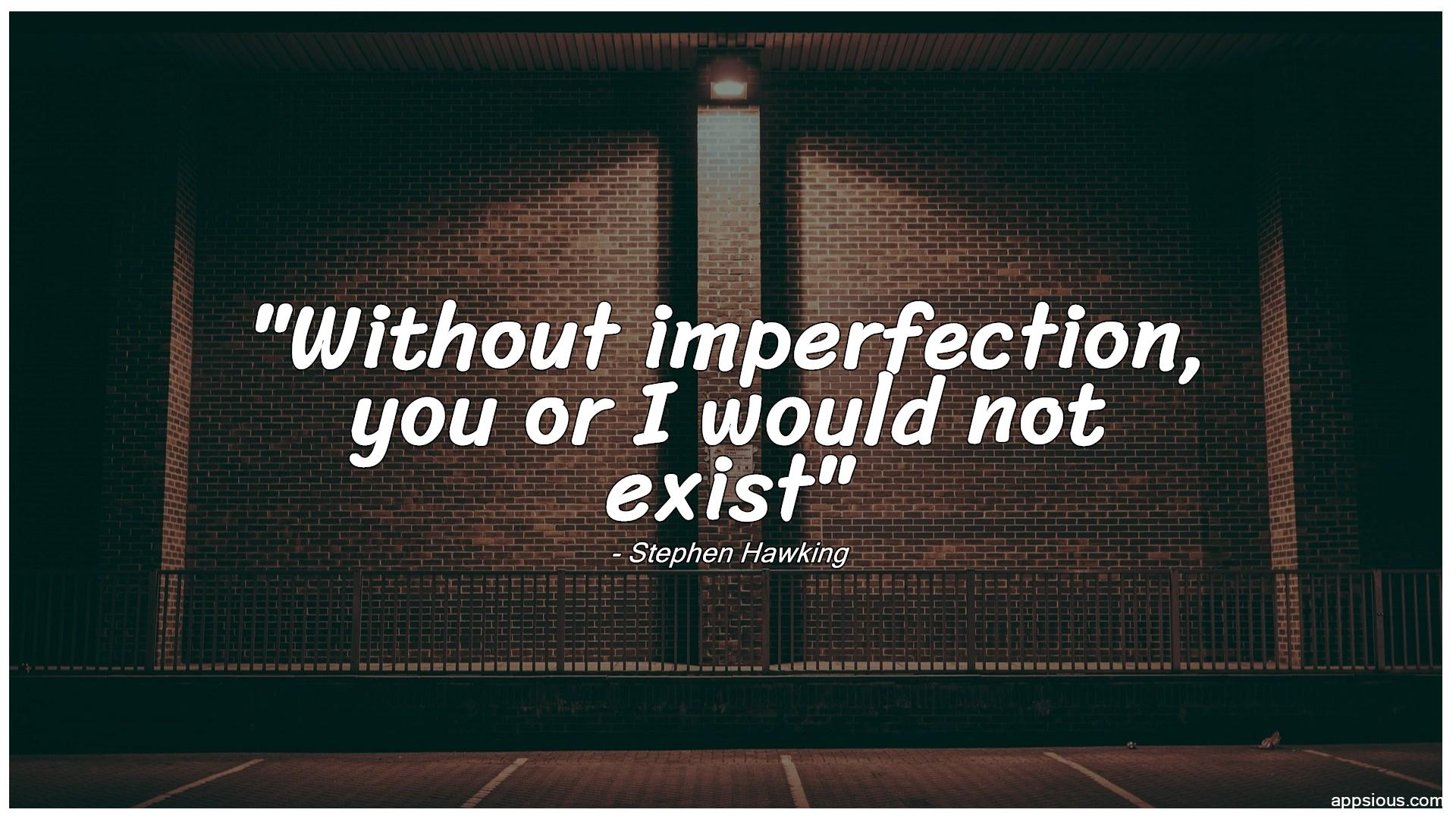 Without imperfection, you or I would not exist
