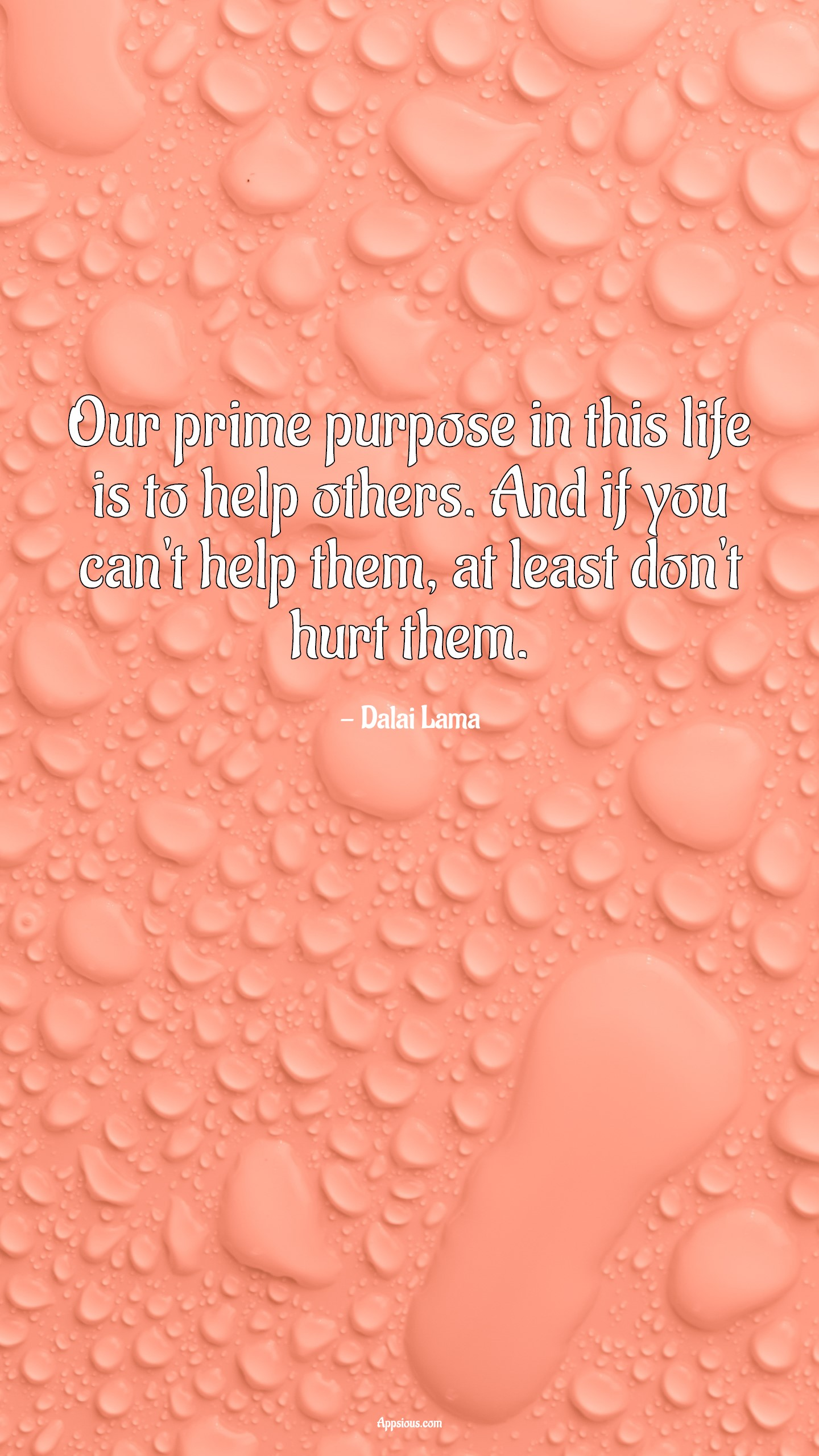 Our prime purpose in this life is to help others. And if you can't help them, at least don't hurt them.