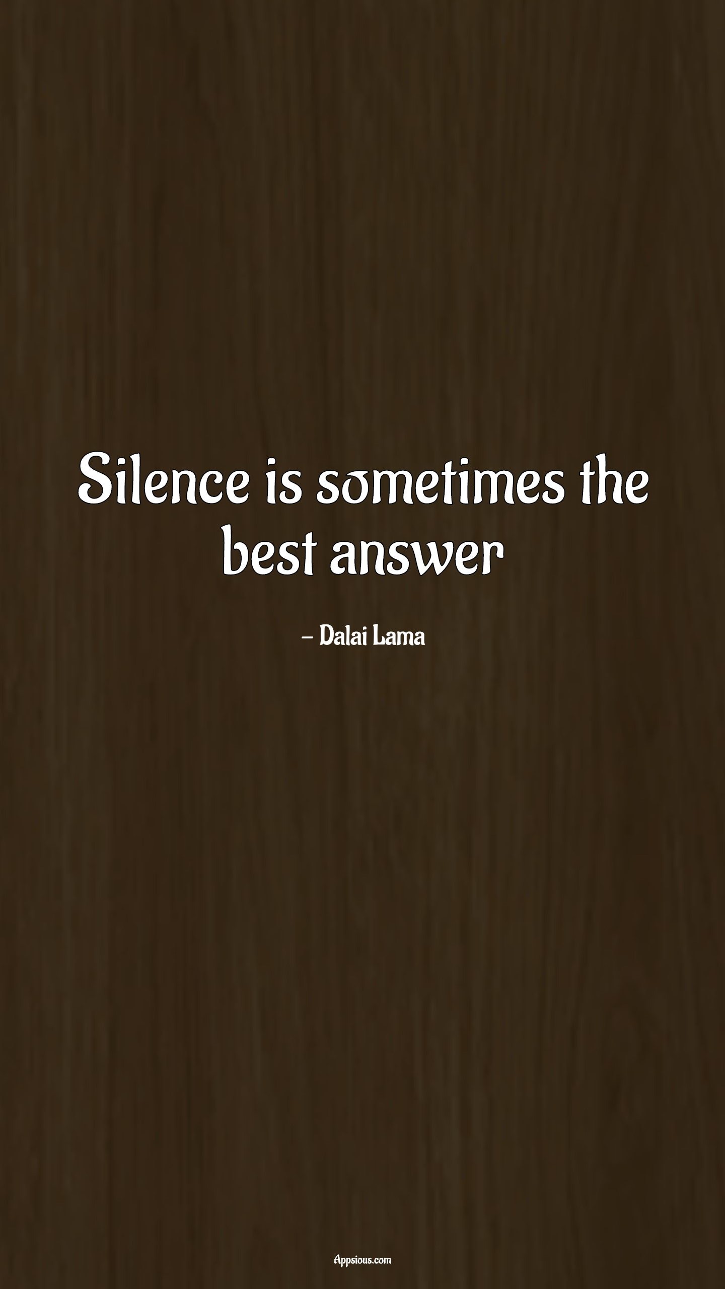 Silence is sometimes the best answer