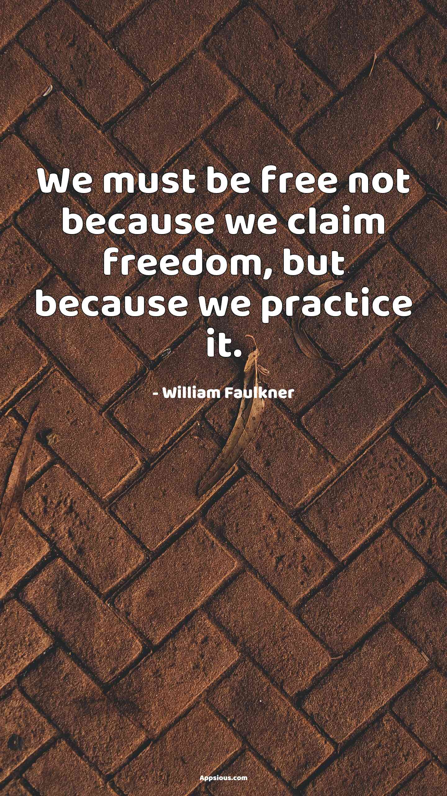 We must be free not because we claim freedom, but because we practice it.