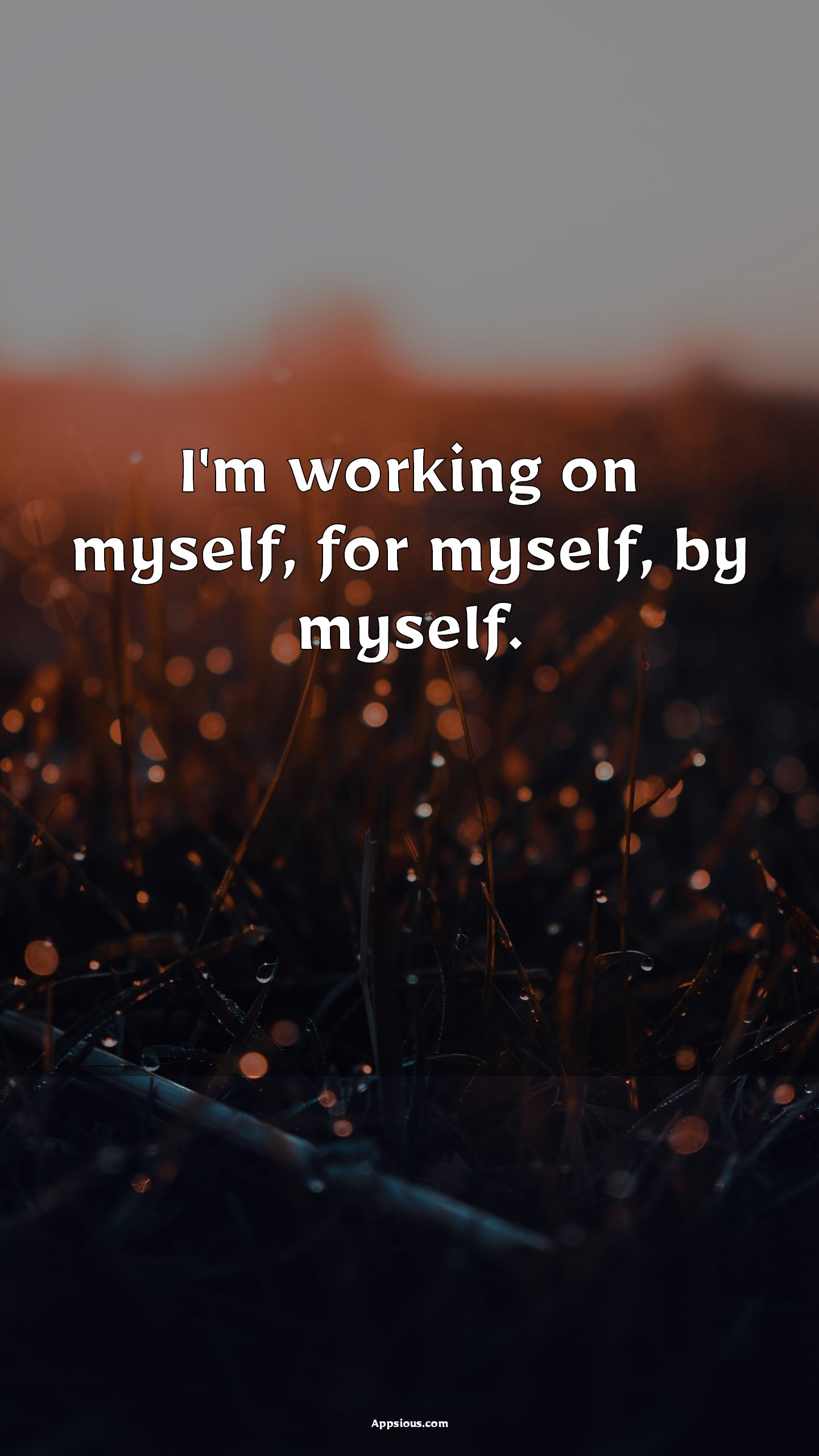 I'm working on myself, for myself, by myself.