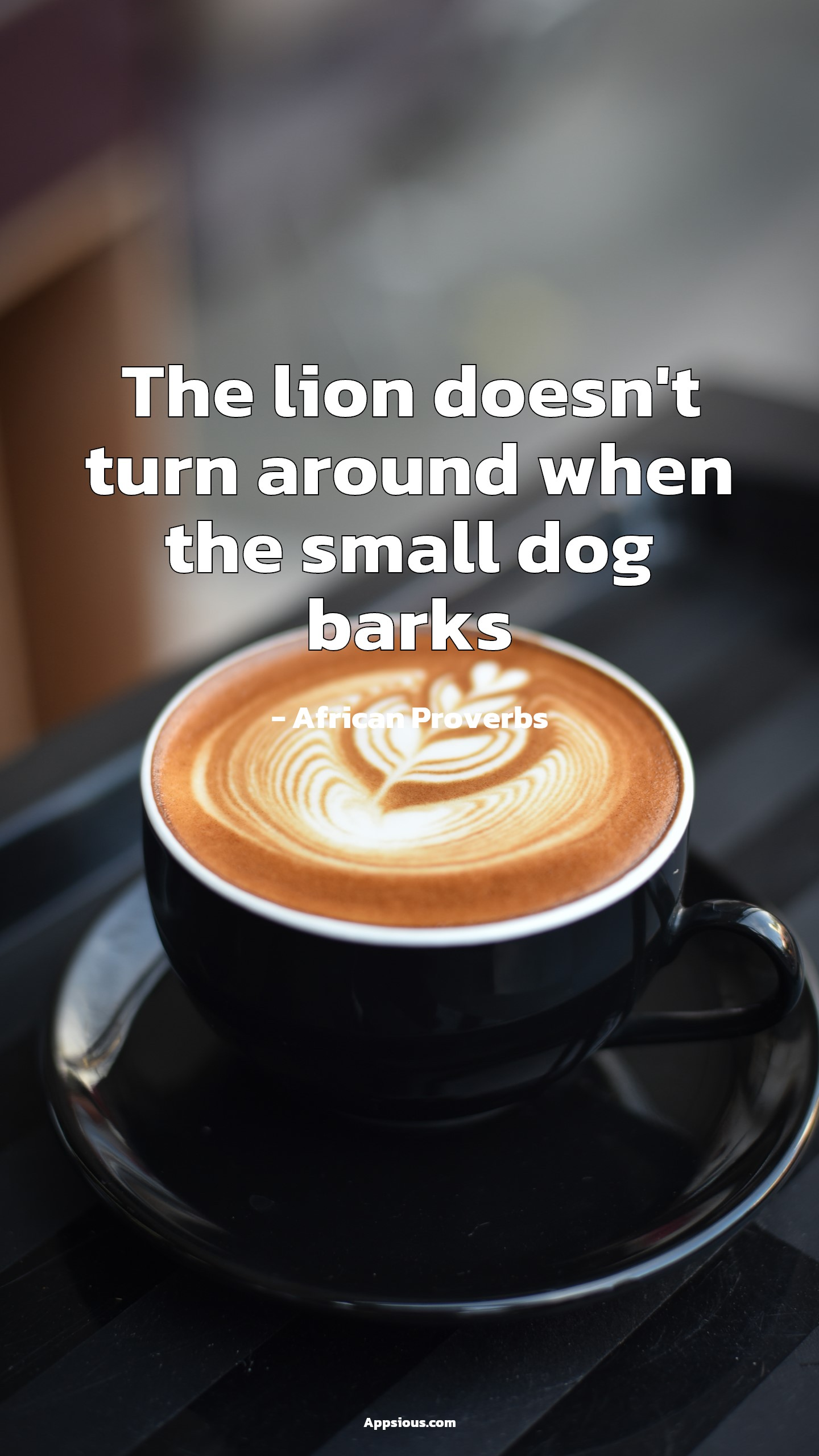 The lion doesn't turn around when the small dog barks