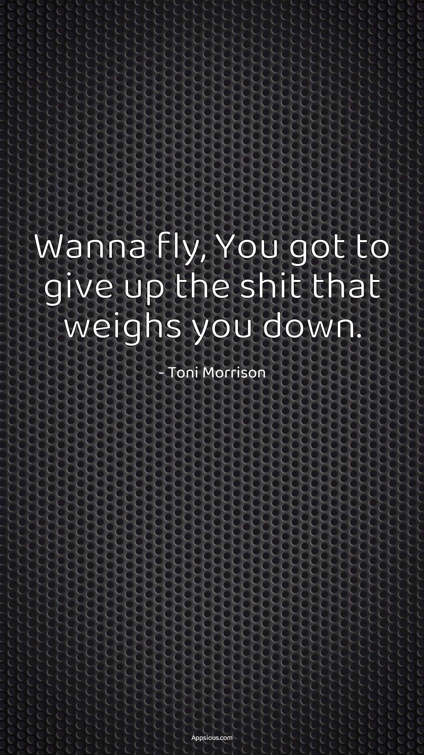 Wanna fly, You got to give up the shit that weighs you down.