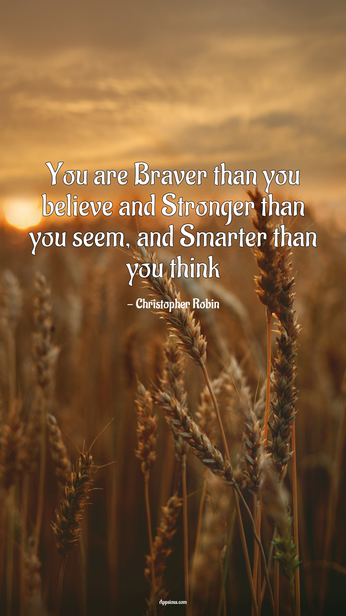 You are Braver than you believe and Stronger than you seem, and Smarter than you think