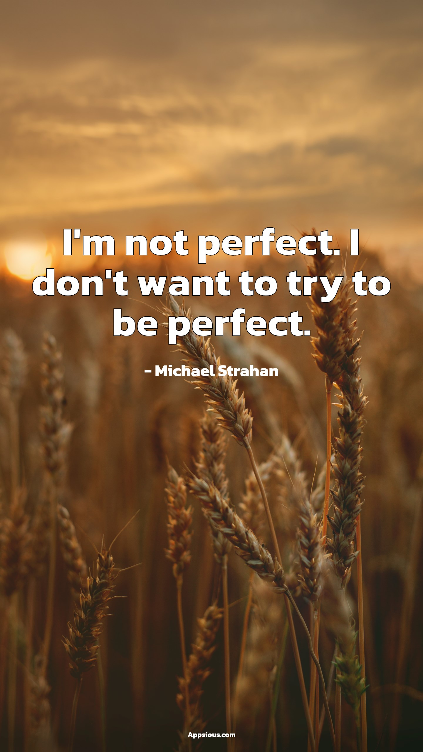 I'm not perfect. I don't want to try to be perfect.