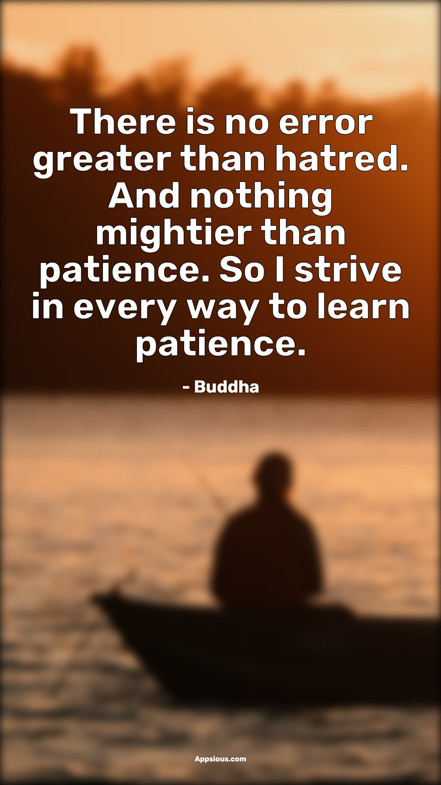 There is no error greater than hatred. And nothing mightier than patience. So I strive in every way to learn patience.