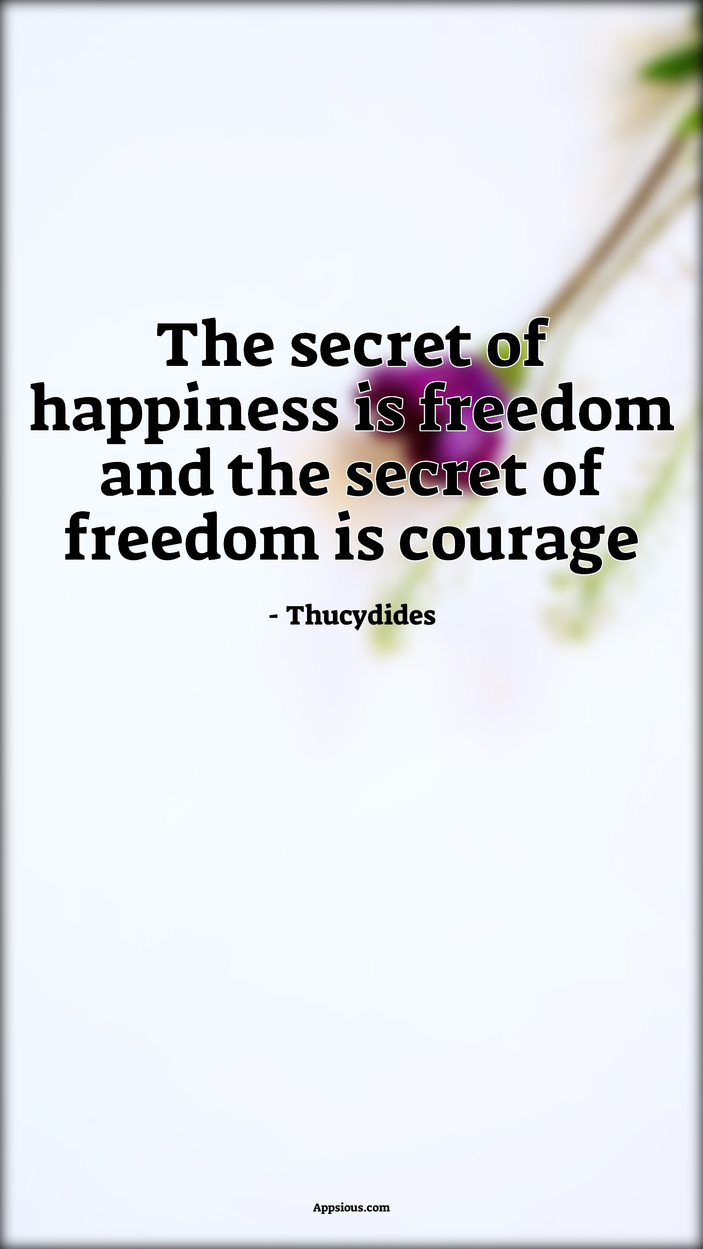 The secret of happiness is freedom and the secret of freedom is courage