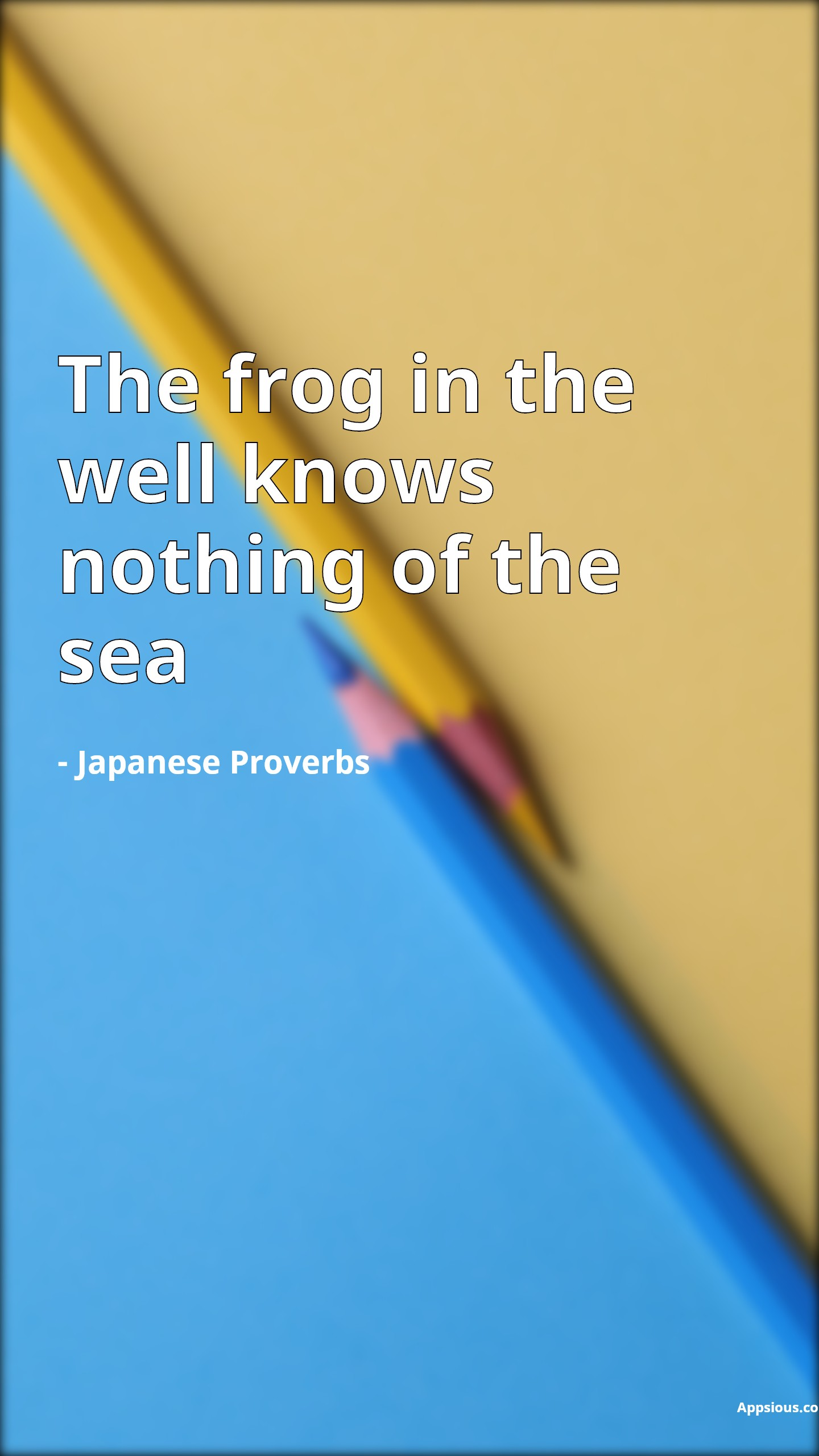 The frog in the well knows nothing of the sea