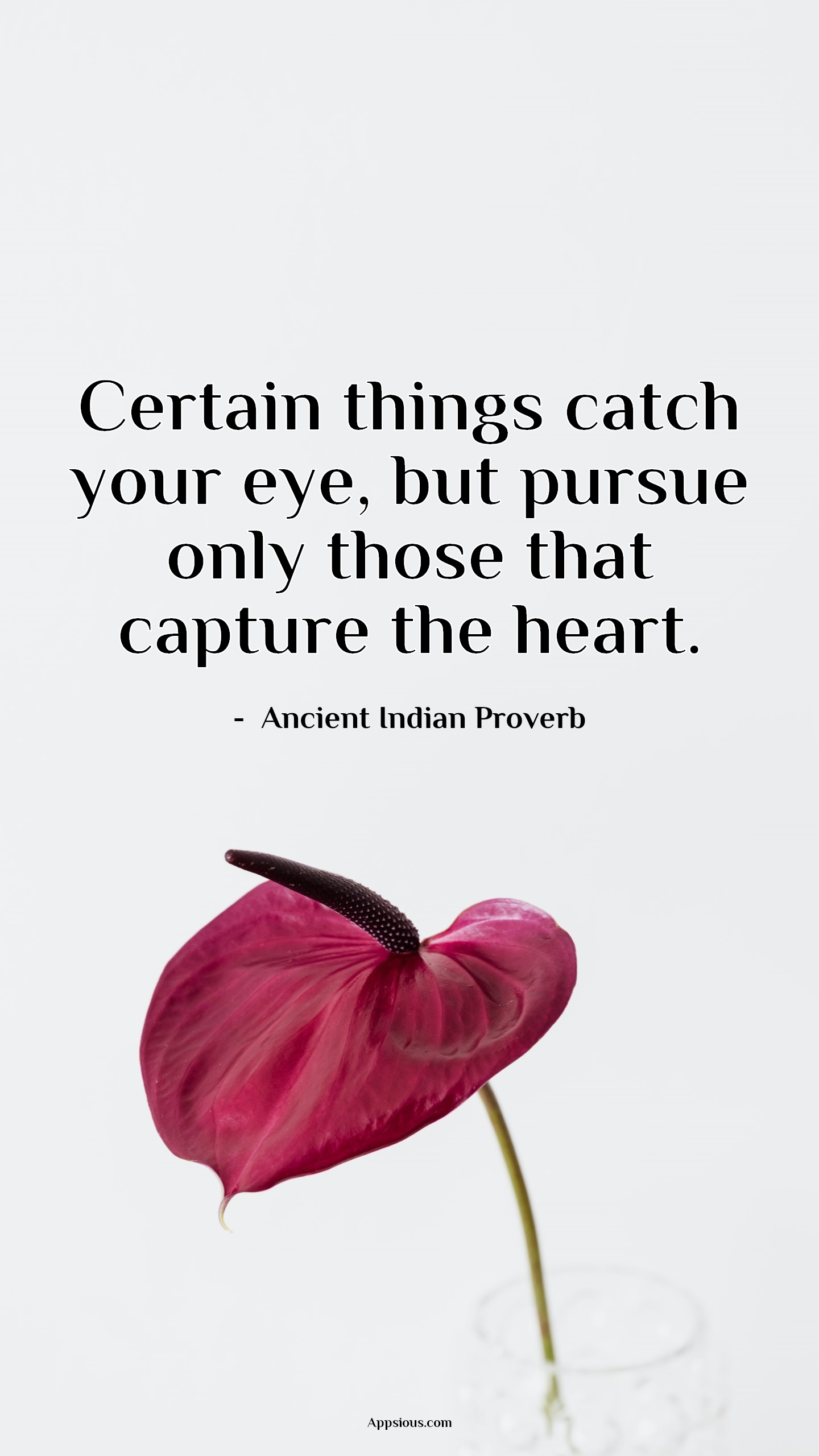 Certain things catch your eye, but pursue only those that capture the heart.