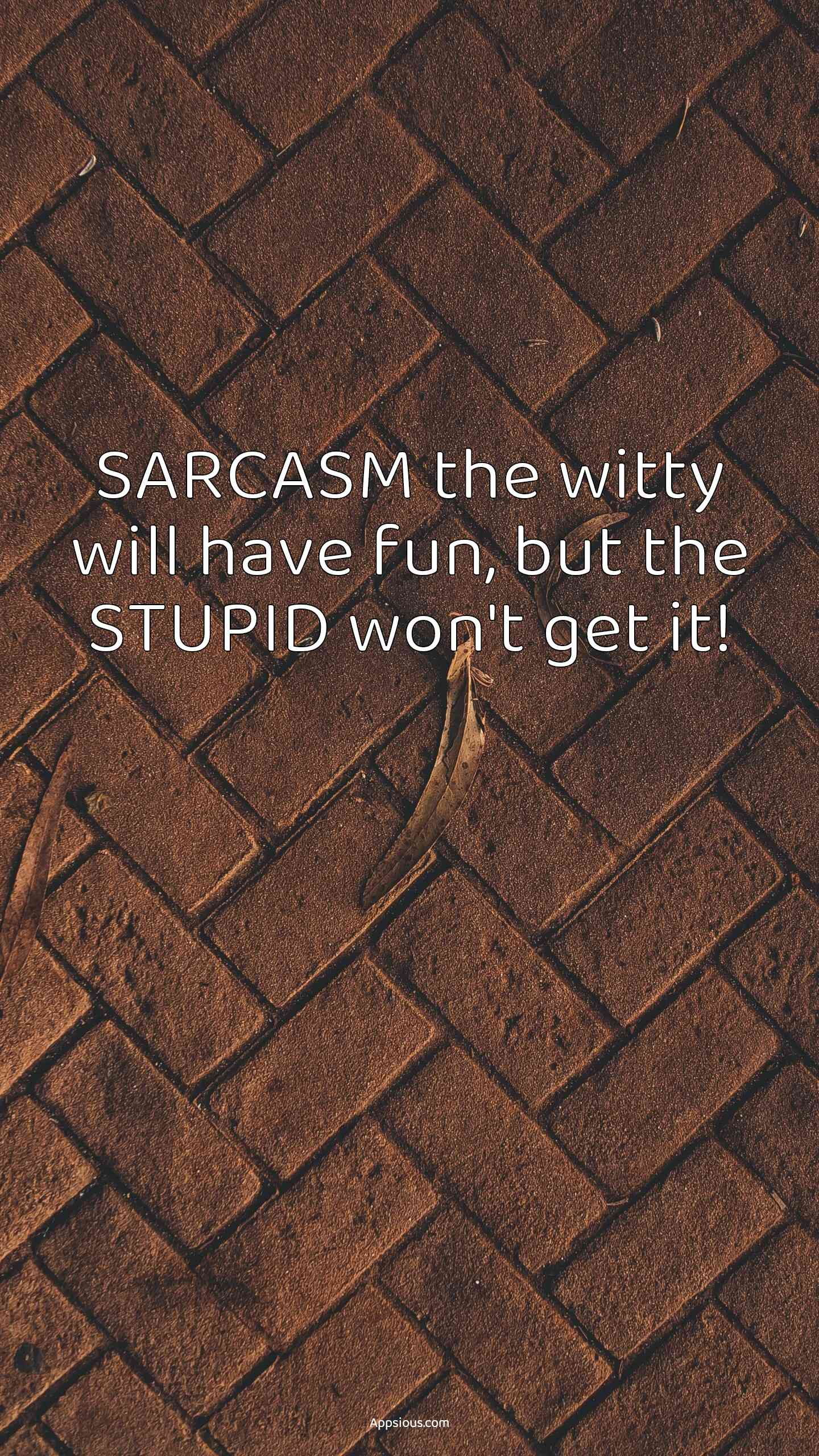 SARCASM the witty will have fun, but the STUPID won't get it!
