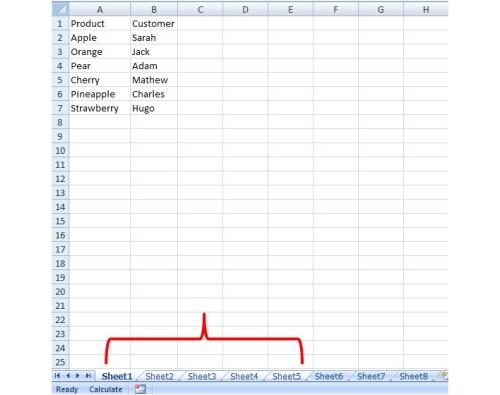 select a range of worksheets