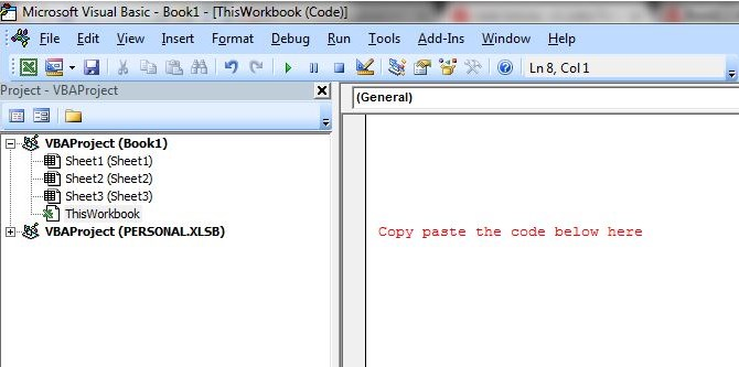 VBA editor in Excel