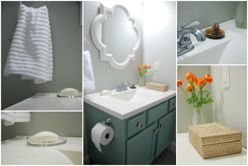 small bathroom makeover reveal benjamin moore moonshine olympic footpath quatrefoil mirror target threshold moen