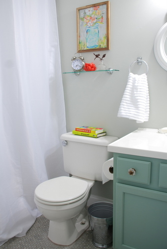 small bathroom makeover reveal benjamin moore moonshine katie daisy olympic footpath target threshold