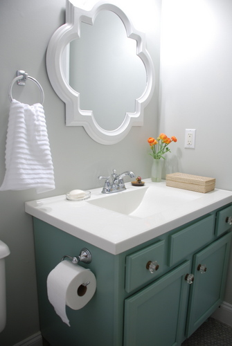 small bathroom makeover reveal benjamin moore moonshine olympic footpath quatrefoil mirror target threshold moen preston delta sentiment