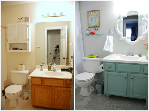 Bathroom Makeover Reveal before and after small bathroom
