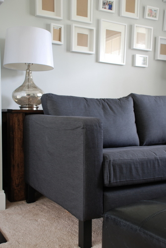 charcoal sofa black legs ikea karlstad spray paint